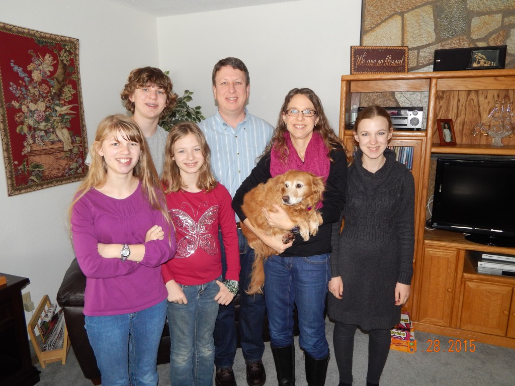 Brent, Gail, Tristie, Andrew, Megan, Emma,(Amber the dog)